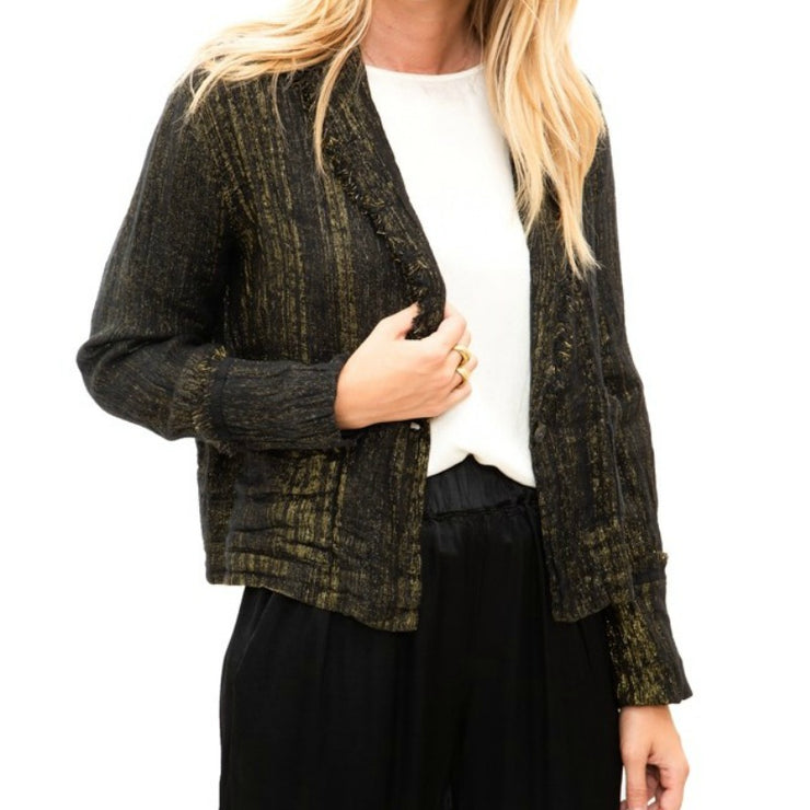 Raquel Allegra Black / Gold Cropped Blazer