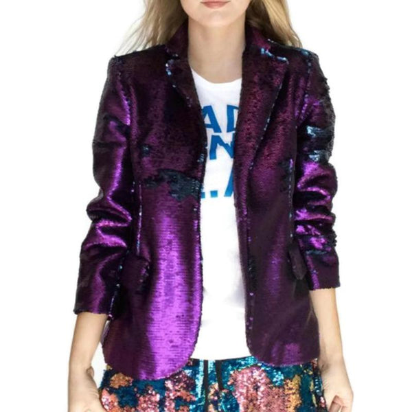 Libertine Purple / Navy 3/4 Sleeve Sequin Blazer