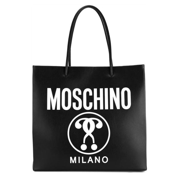 Moschino Double Question Mark Black Leather Tote
