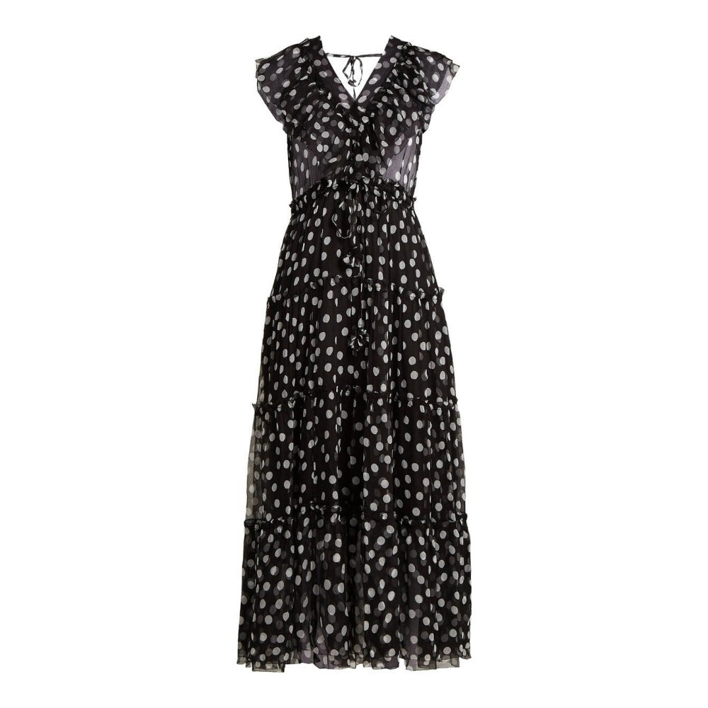 Lee Mathews Black / White Mansfield Polka Dot Casual Maxi Dress