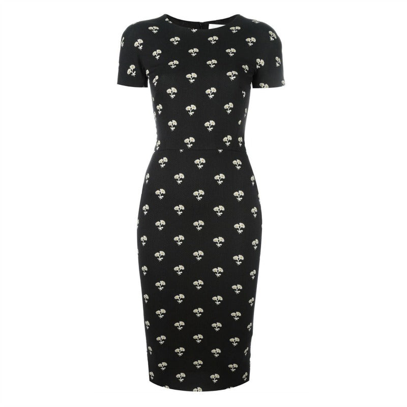 Victoria Beckham Black Daisy Stretch Jacquard Dress