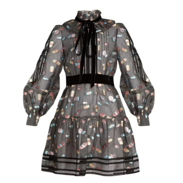 Marc Jacobs Black Multi Ruffled Collar Fil Coupé Mini Dress