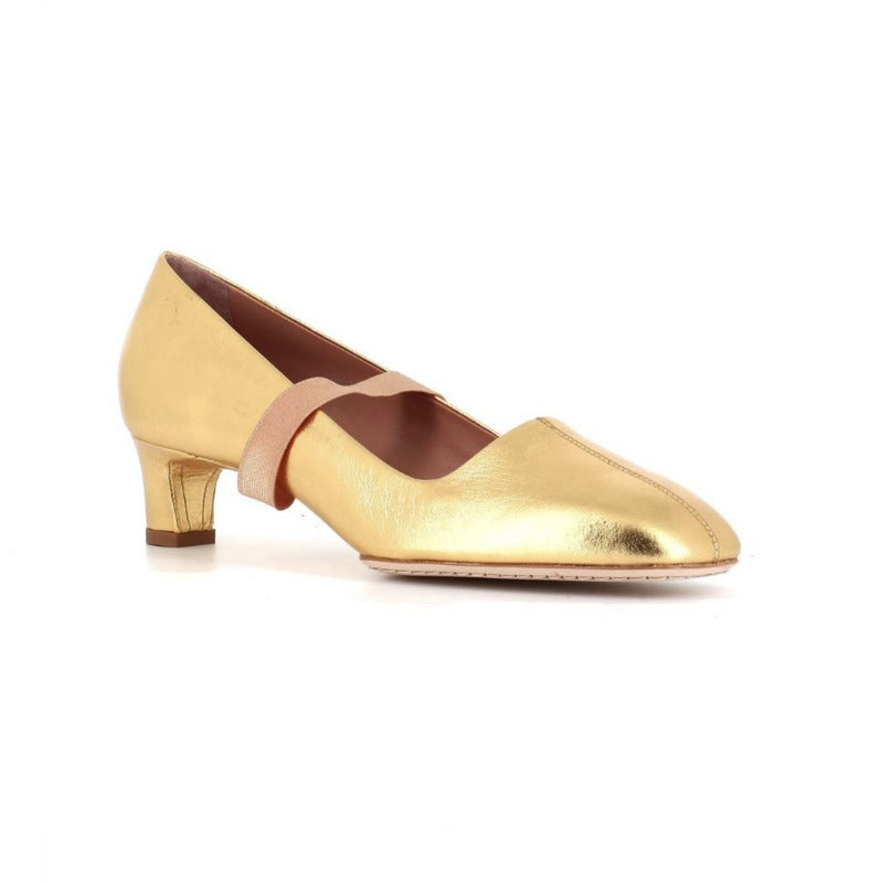 Santoni Gold Edited By Marco Zanini Gold Metallic Strap Court Pumps