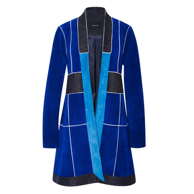 Derek Lam Blue Multi Suede Jacket