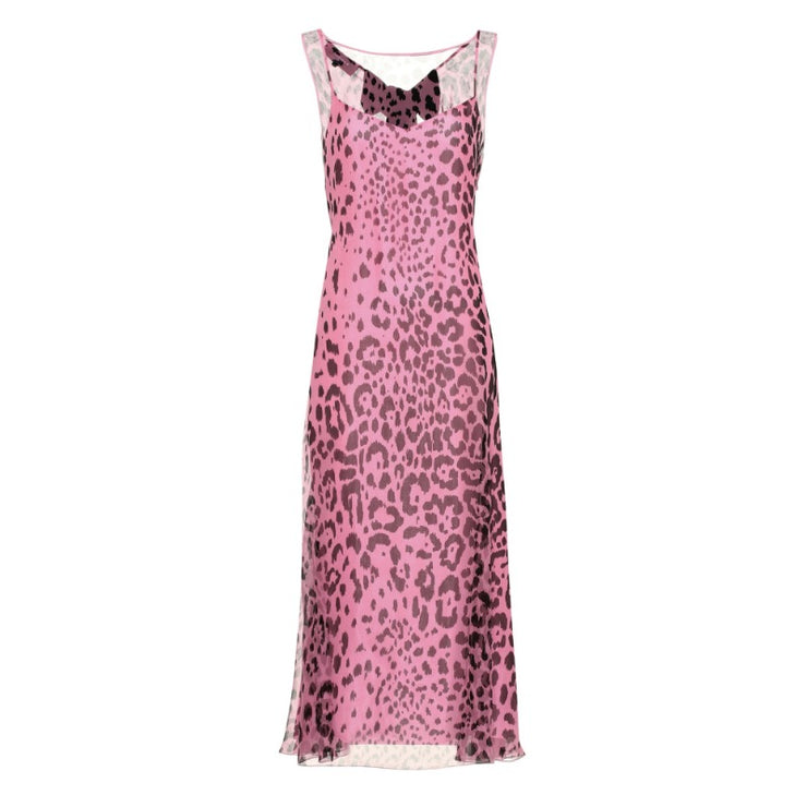 Rochas Pink / Black Animalier Silk Midi Dress