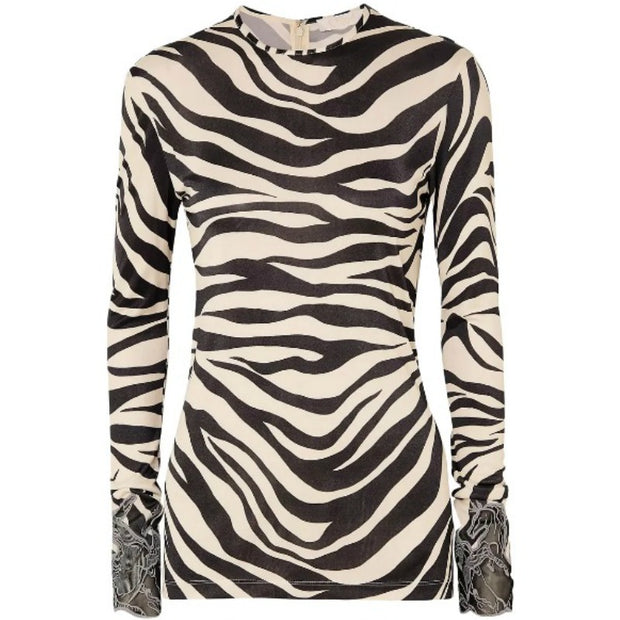 Chloé Embroidered Mesh-trimmed Zebra Top