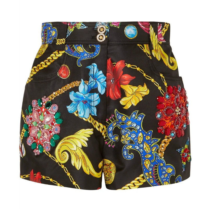 Versace Black Multi Embellished Printed Shorts