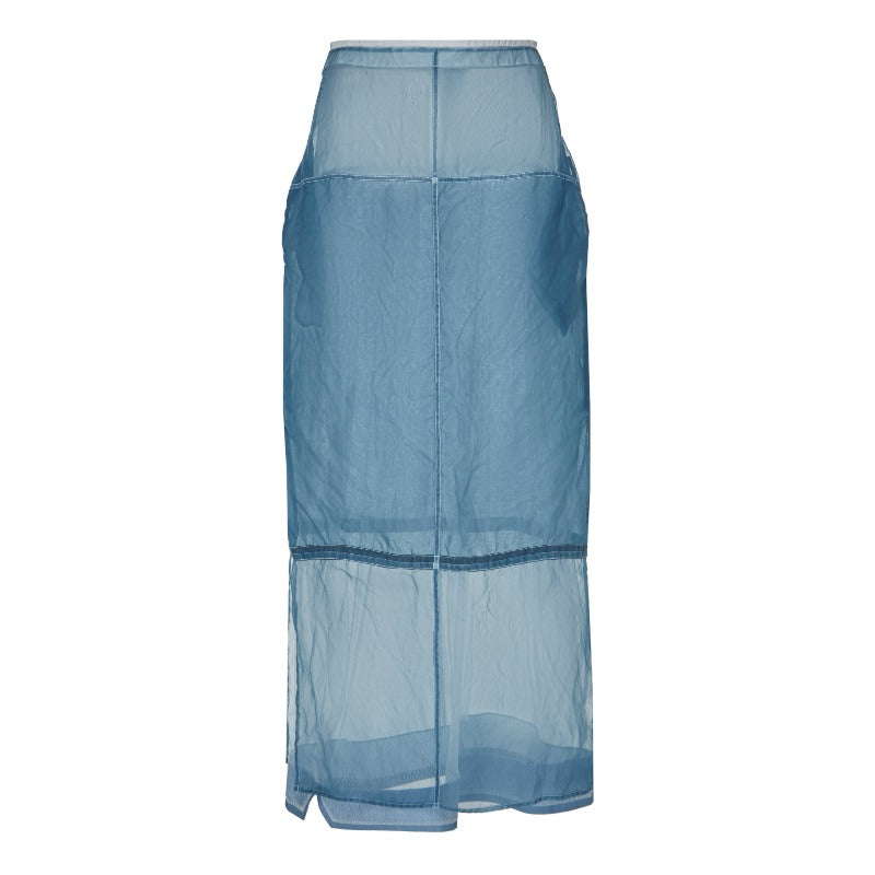 Jil Sander Blue Grier Sheer Skirt