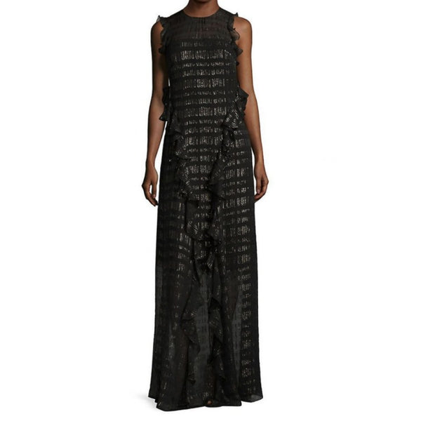 Shoshanna Black / Gold Open Ruffled Metallic Chiffon Maxi Dress