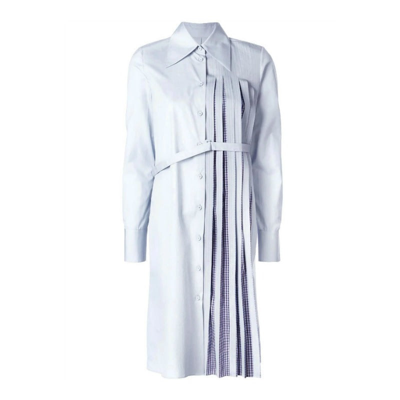 Maison Margiela Light Blue Pleated Casual Dress