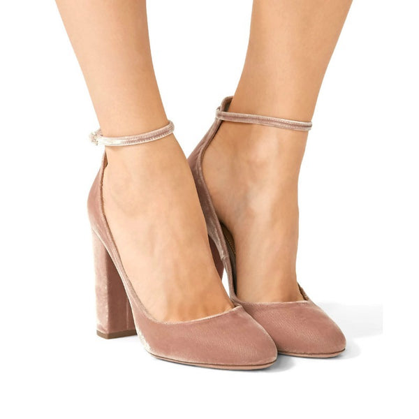 Aquazzura Blush Alix Velvet Pumps