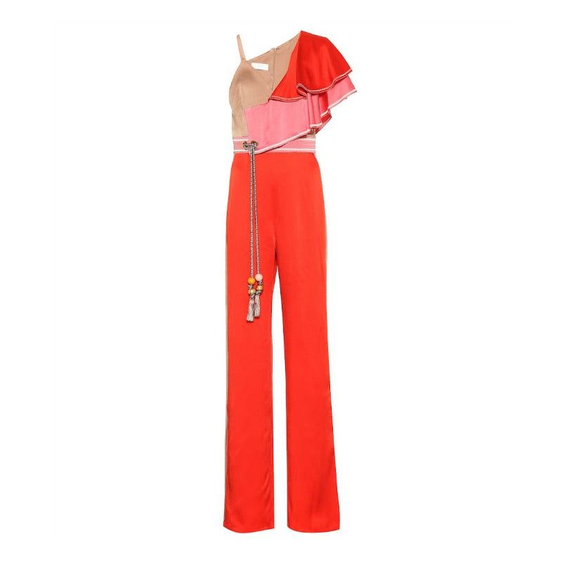 Peter Pilotto Red Cady Frill Shoulder Jumpsuit