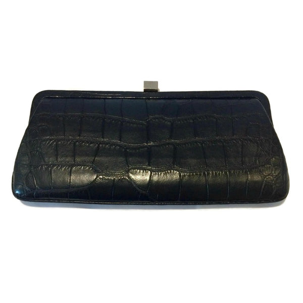 Lambertson Truex Frame Black Crocodile Skin Leather Clutch