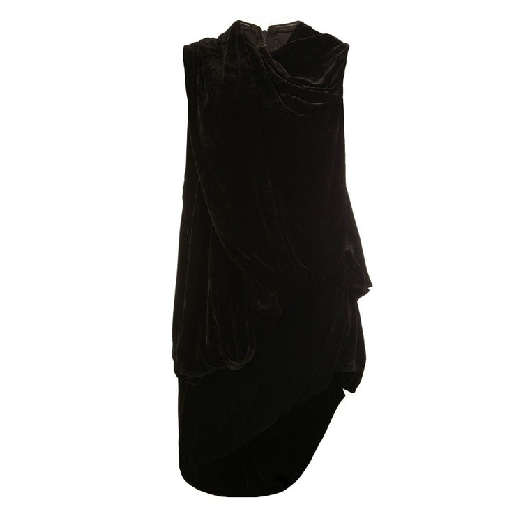 Rick Owens Black Draped Velvet Top