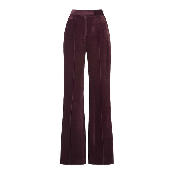 MARY KATRANTZOU Purple Deosh Velvet Trouser Flared Pants