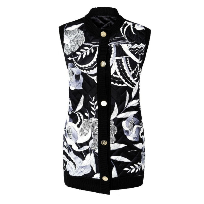 Leonard Paris Black / White Quilted Button Front Vest