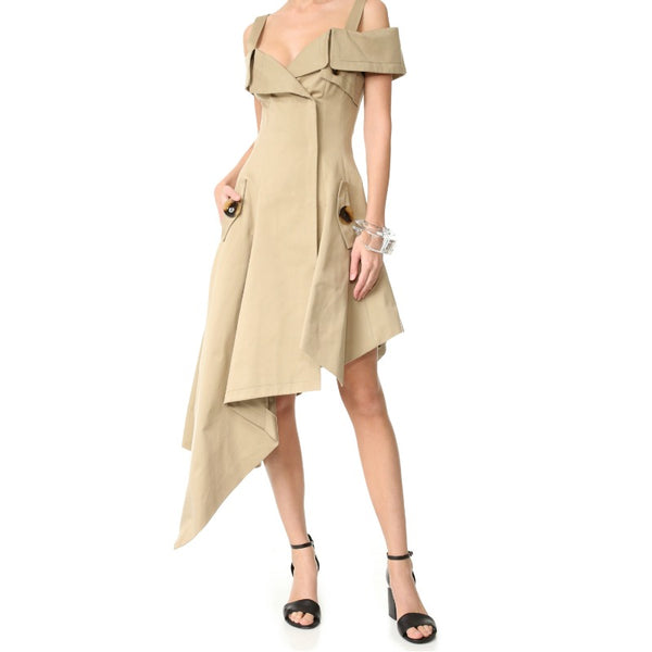 Monse Khaki Off The Shoulder Dress