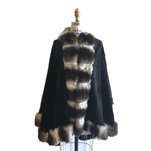Black Persian Lamb with Chinchilla Fur Coat