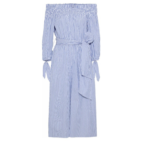Caroline Constas Blue / White Lou Off-the-shoulder Jumpsuit