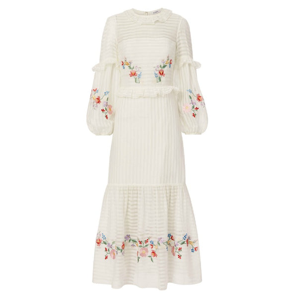 Vilshenko Multi Floral Embroidered Adelin Short Casual Dress