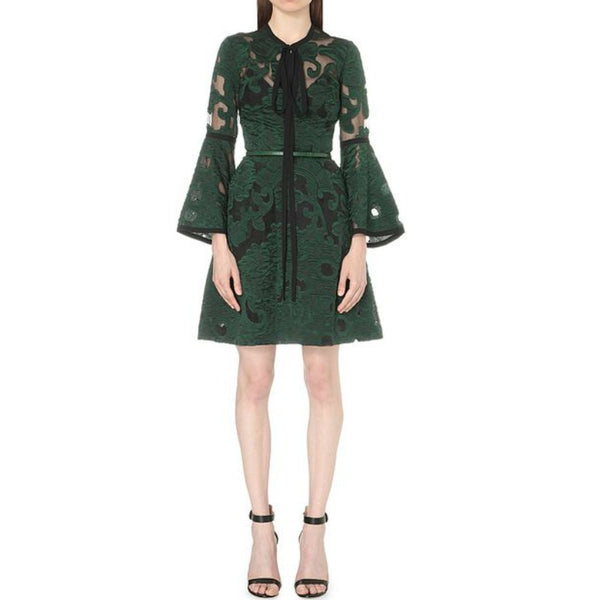 Elie Saab Green Jacquard Embroidered Dress