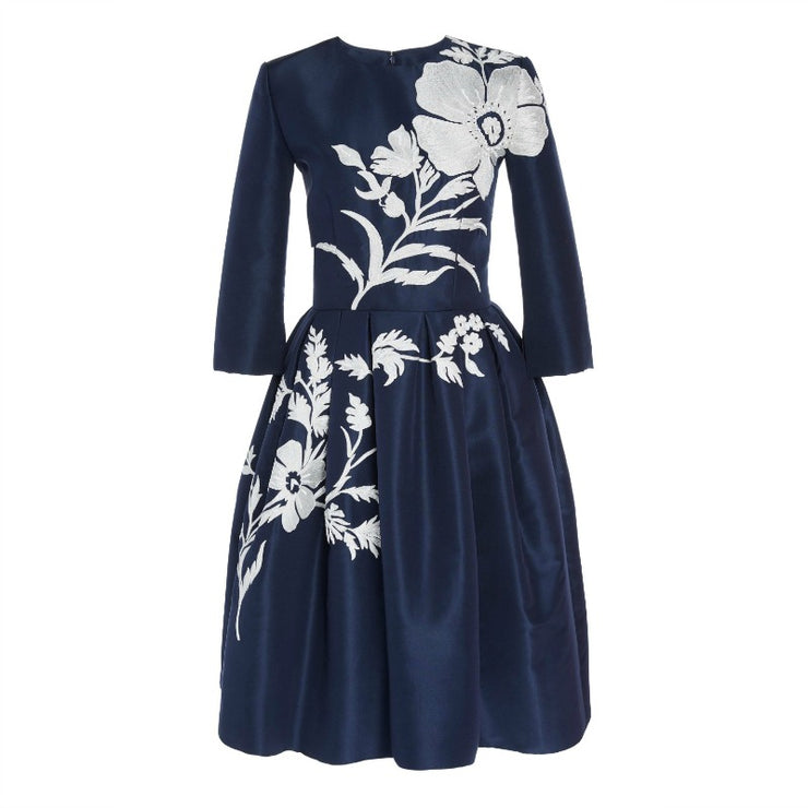 Carolina Herrera Navy Blue / White Sequin-embellished Silk Faille Dress