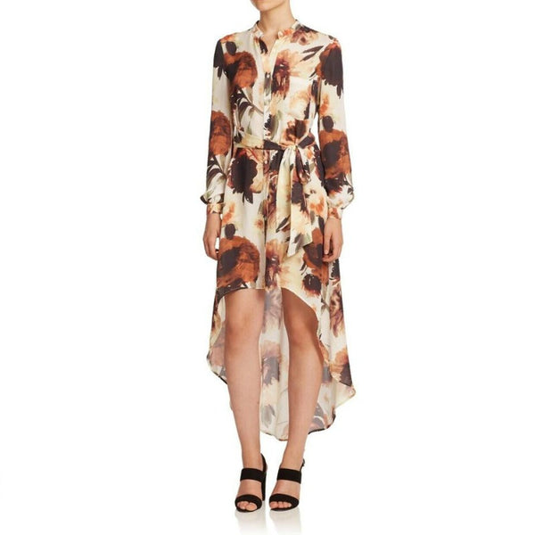 Haute Hippie Desert Rose Silk Floral High Low Dress