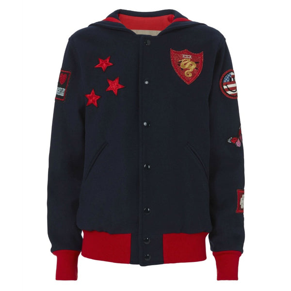 History Repeats Navy Snap Front Patch Sailor Miltary Jacket
