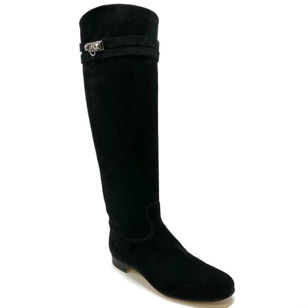 Hermes Black Suede Riding Boots
