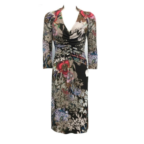 Etro Brown Multi Floral Ruched Front Dress