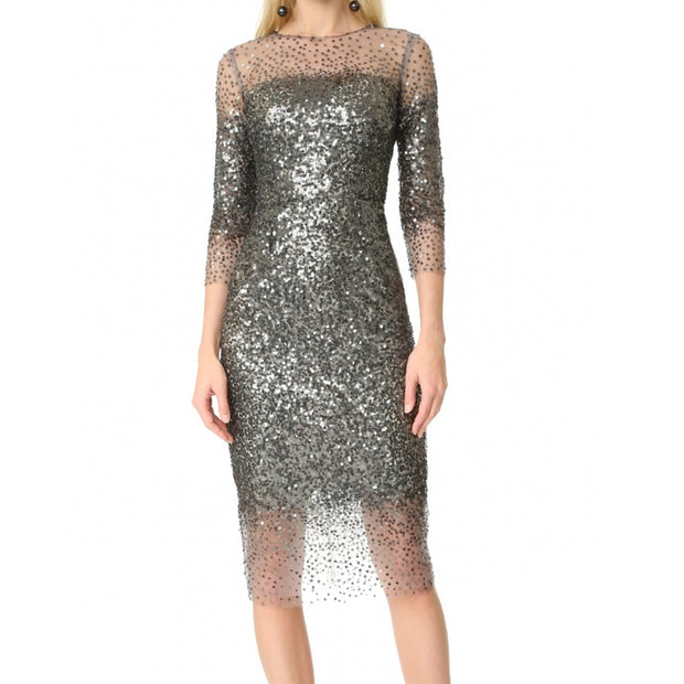 Monique Lhuillier Silver Illusion Dress