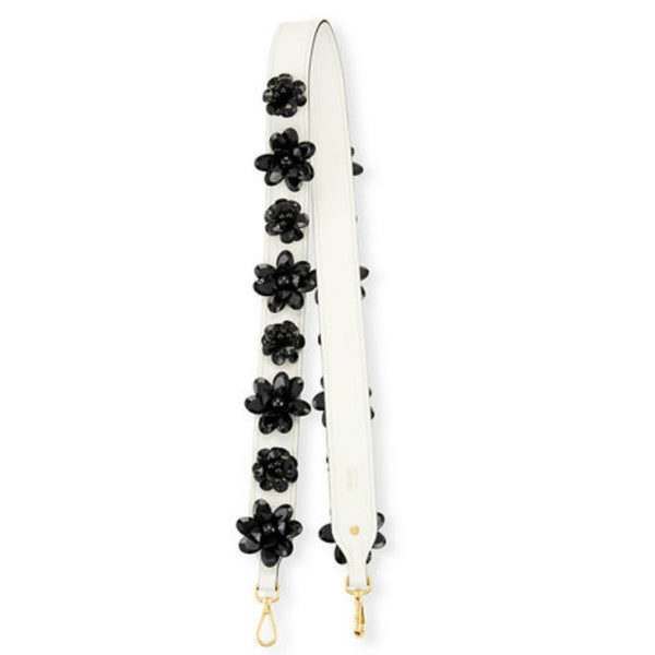 Prada Black / White Flower Charm Handbag Strap