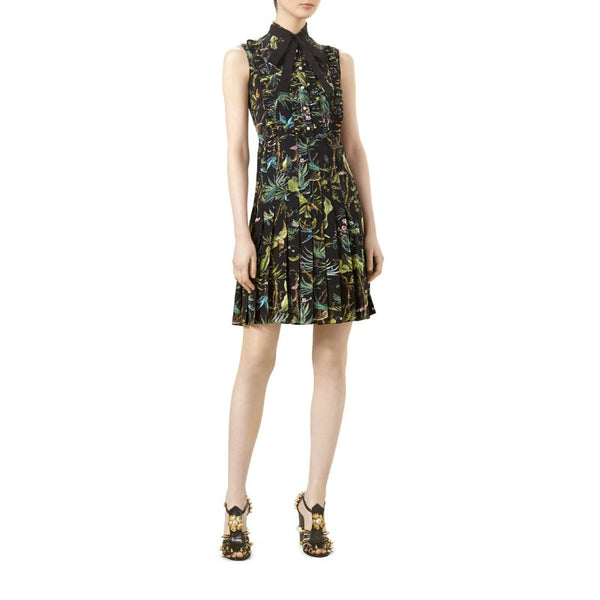Gucci Tropical Pleat Ruffle Front Dress