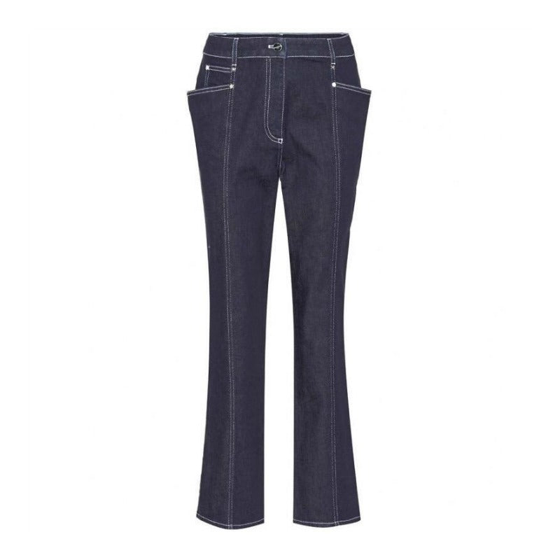 Mugler Dark Wash Winged Pocket Ankle Jeans