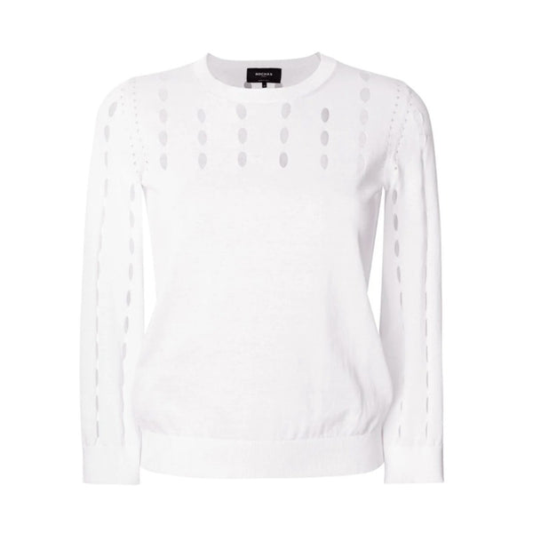 Rochas Cut Out Detail White Sweater