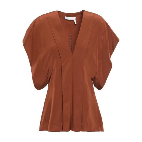Chloé Wildwood Brown Silk Crepe Blouse