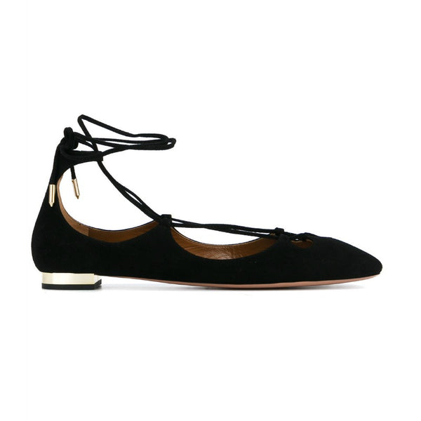 Aquazzura Black Dancer Suede Lace-up Flats