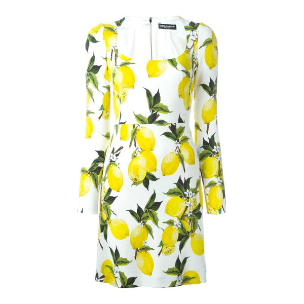 Dolce&Gabbana Yellow / White / Green Lemon Print Work/Office Dress