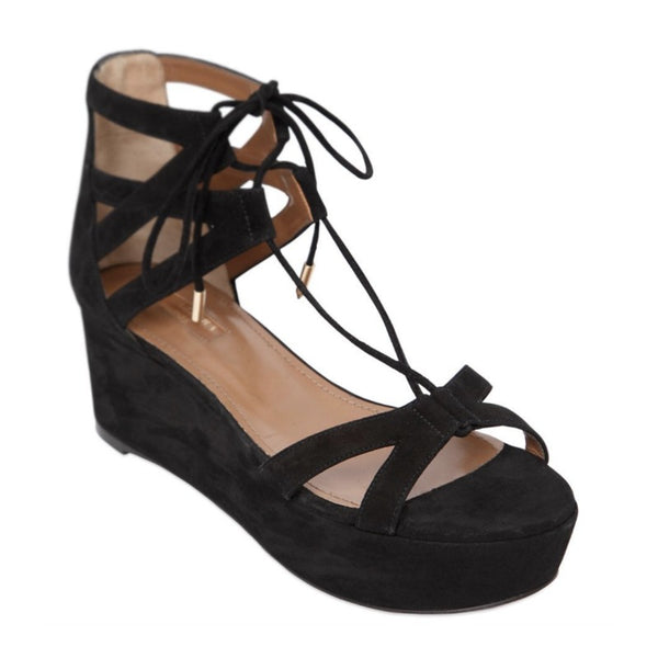 Aquazzura Black Beverly Hills Flatform Sandals