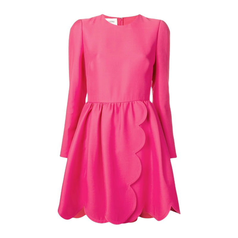 Valentino Pink Scalloped Trim Dress