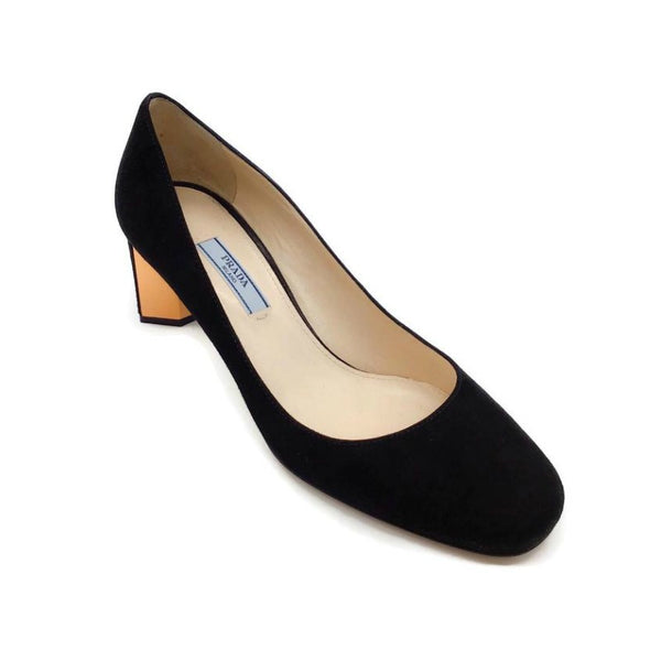 Prada Black Suede/Rose Gold Pumps