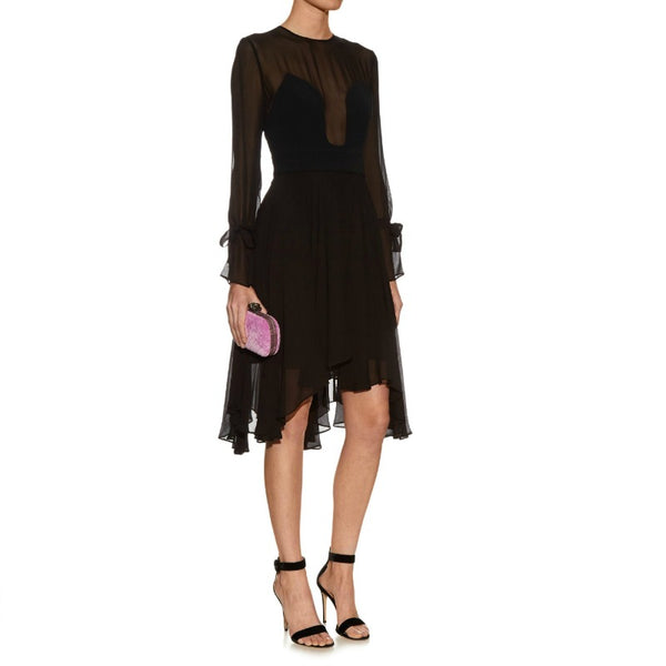 La Mania Black Silk Chiffon Sigma Dress