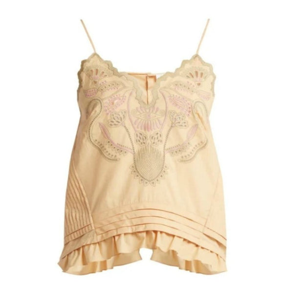 Chloé Beige Embroidered Cotton Voile Cami