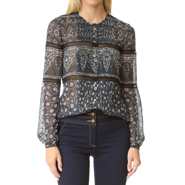 Veronica Beard Shadow Blue Daisy Trim Lace Blouse
