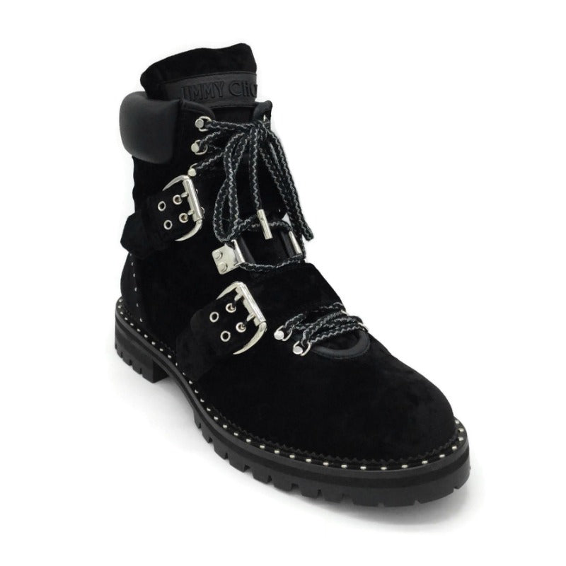 Jimmy Choo Black Breeze Biker Velvet Boots