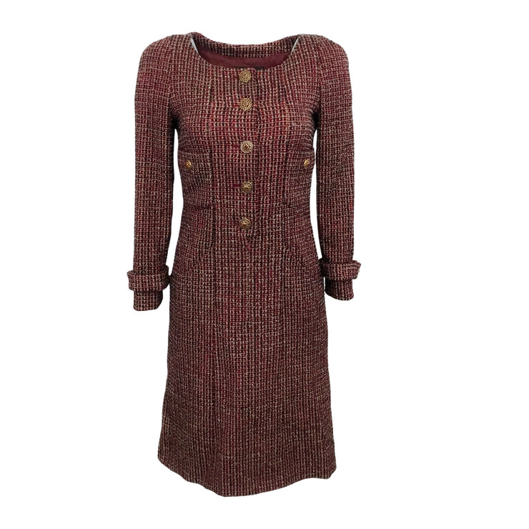 Chanel Red Tweed 2012 Button Front Work/Office Dress