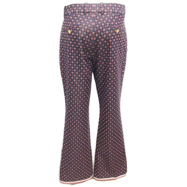 Gucci Navy and Red Geometric G Jacquard Pants