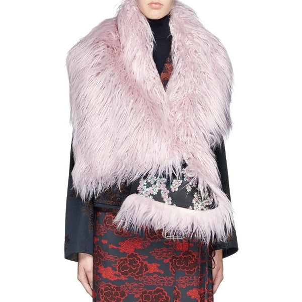 Dries van Noten Black / Light Pink Fala Scarf