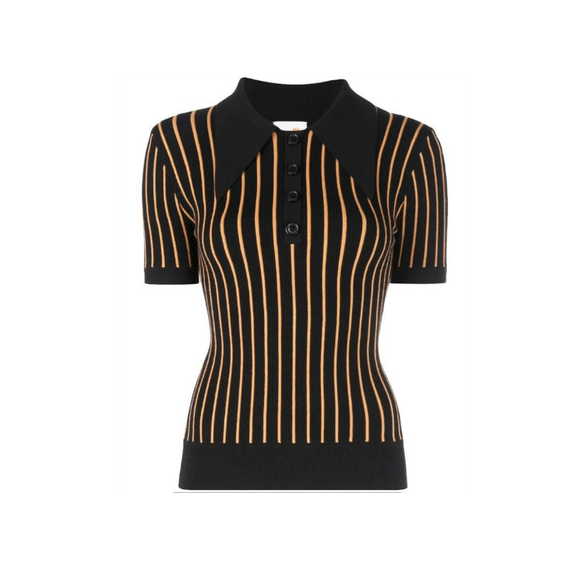 Joos Tricot Striped Polo Black and Peach Sweater
