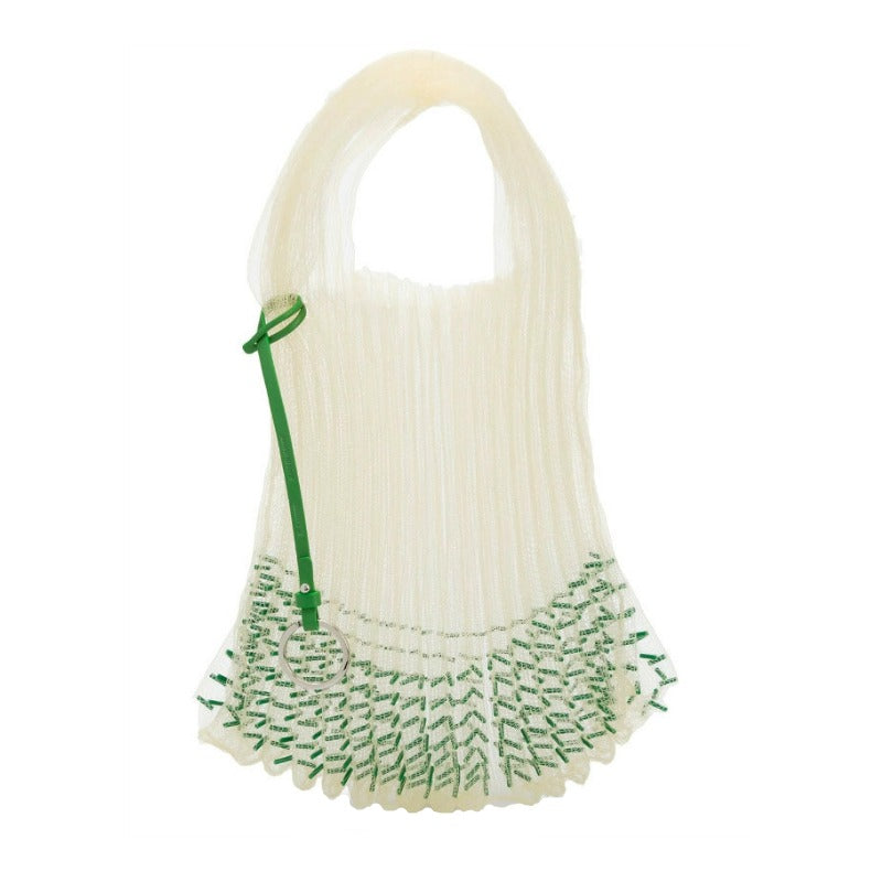 Jil Sander Market Beaded Green Polyester Tote
